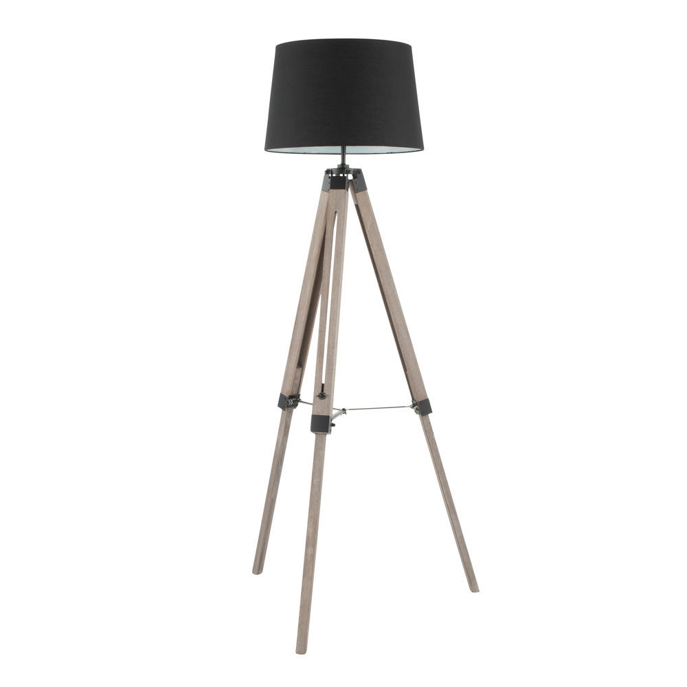 Lumisource Compass Mid Century Modern Floor Lamp In Grey Washed Wood And Black Shade By Lumisource