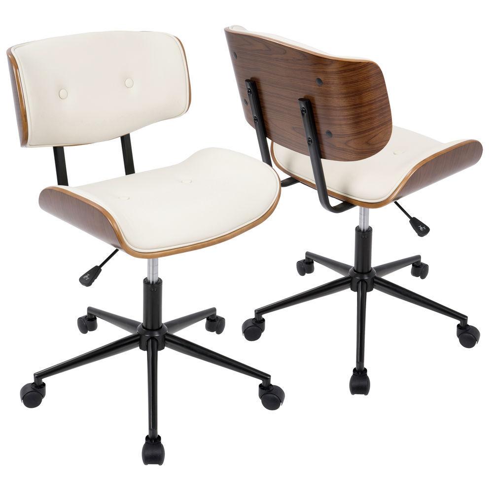 LumiSource OC-JY-LMB WL+CR Lombardi Adjustable Mid-Century Modern Office Chair with Swivel in Walnut and Cream