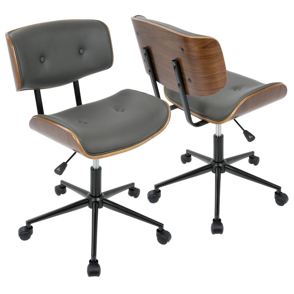 Lumisource Lombardi Mid Century Modern Adjustable Office Chair With Swivel In Walnut And Grey By Lumisource