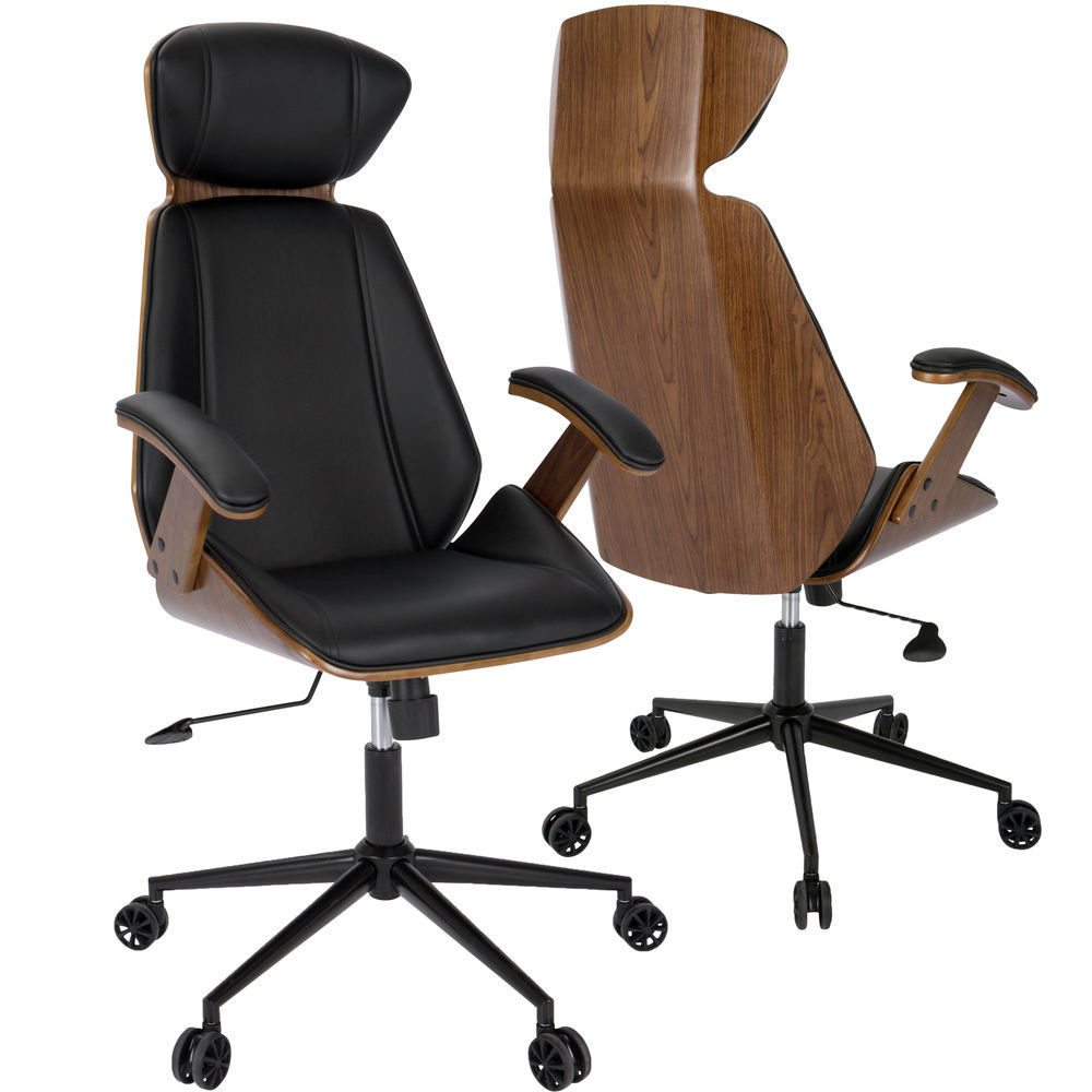 LumiSource Spectre Mid-Century Modern Adjustable Office Chair in Walnut  Wood and Black Faux Leather by LumiSource
