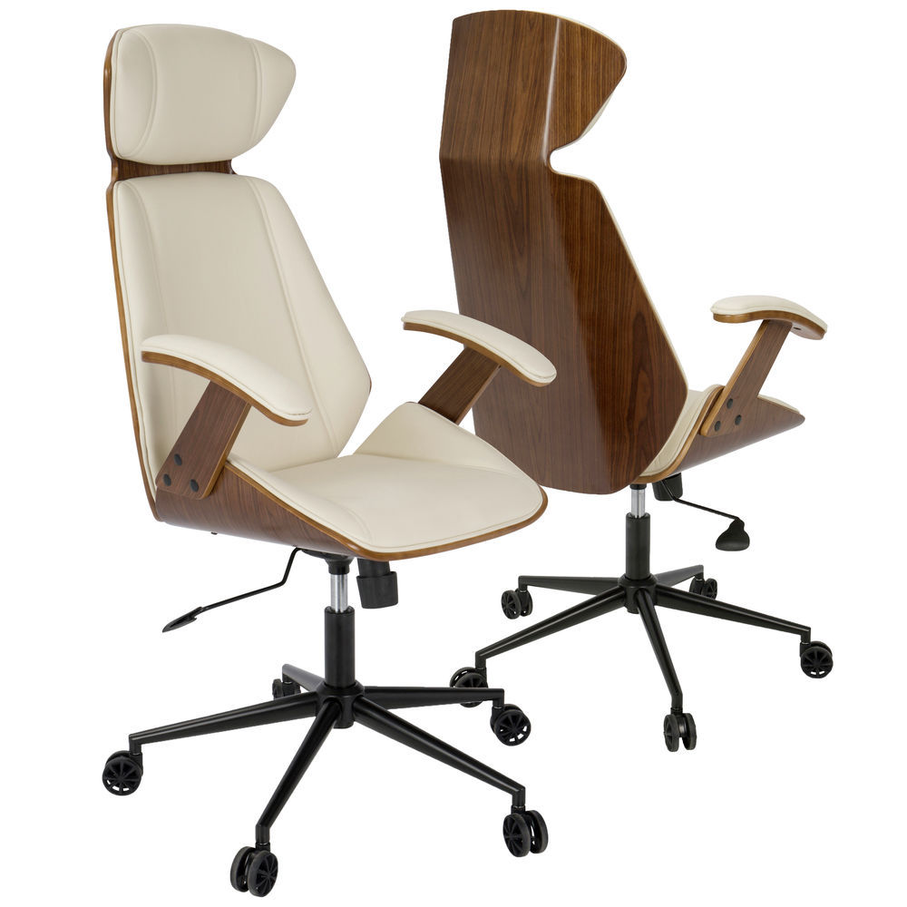 LumiSource Spectre Mid-Century Modern Adjustable Office Chair in Walnut  Wood and Cream Faux Leather by LumiSource