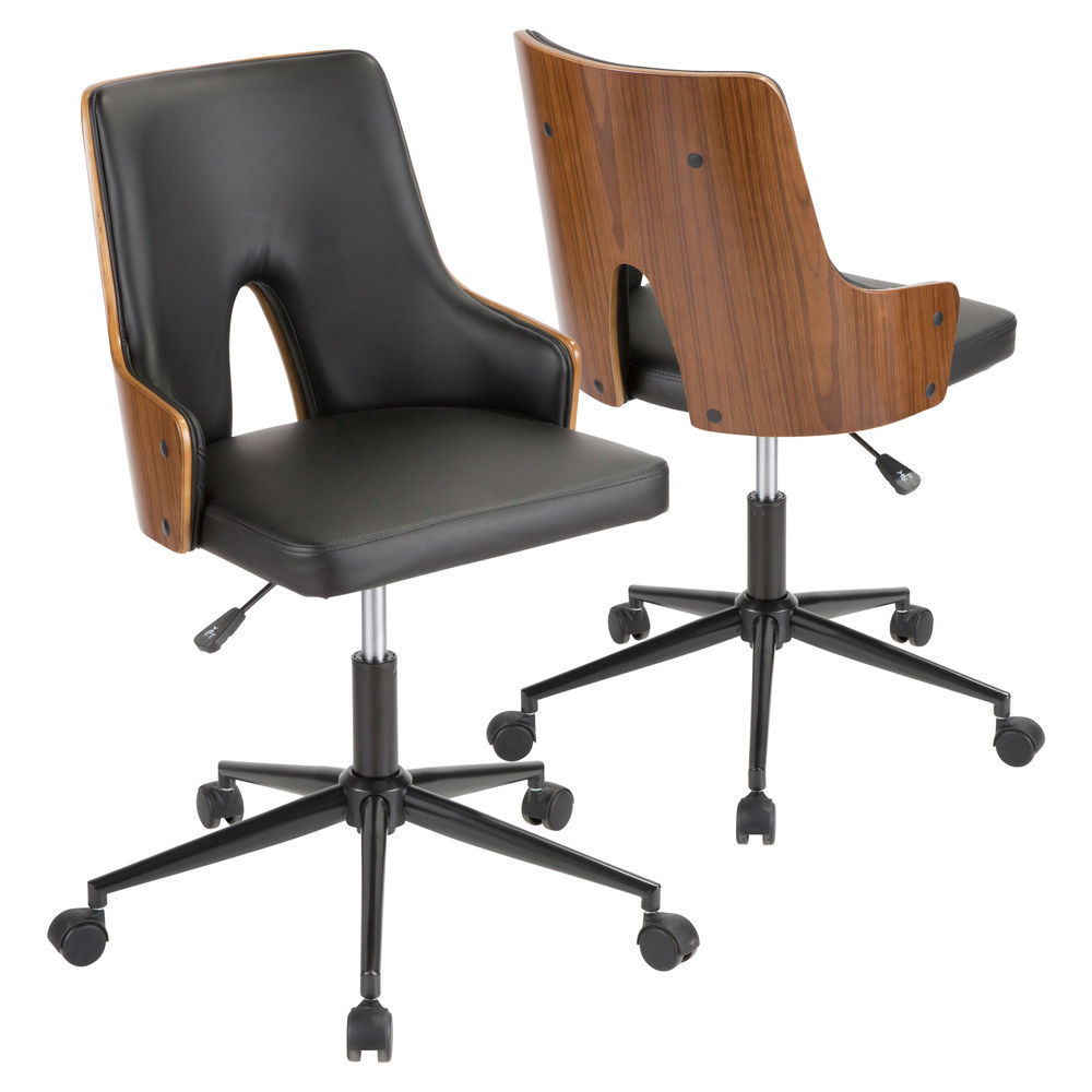 Remarkable Lumisource Stella Mid Century Modern Office Chair In Walnut Wood And Black Faux Leather By Lumisource Interior Design Ideas Gentotryabchikinfo