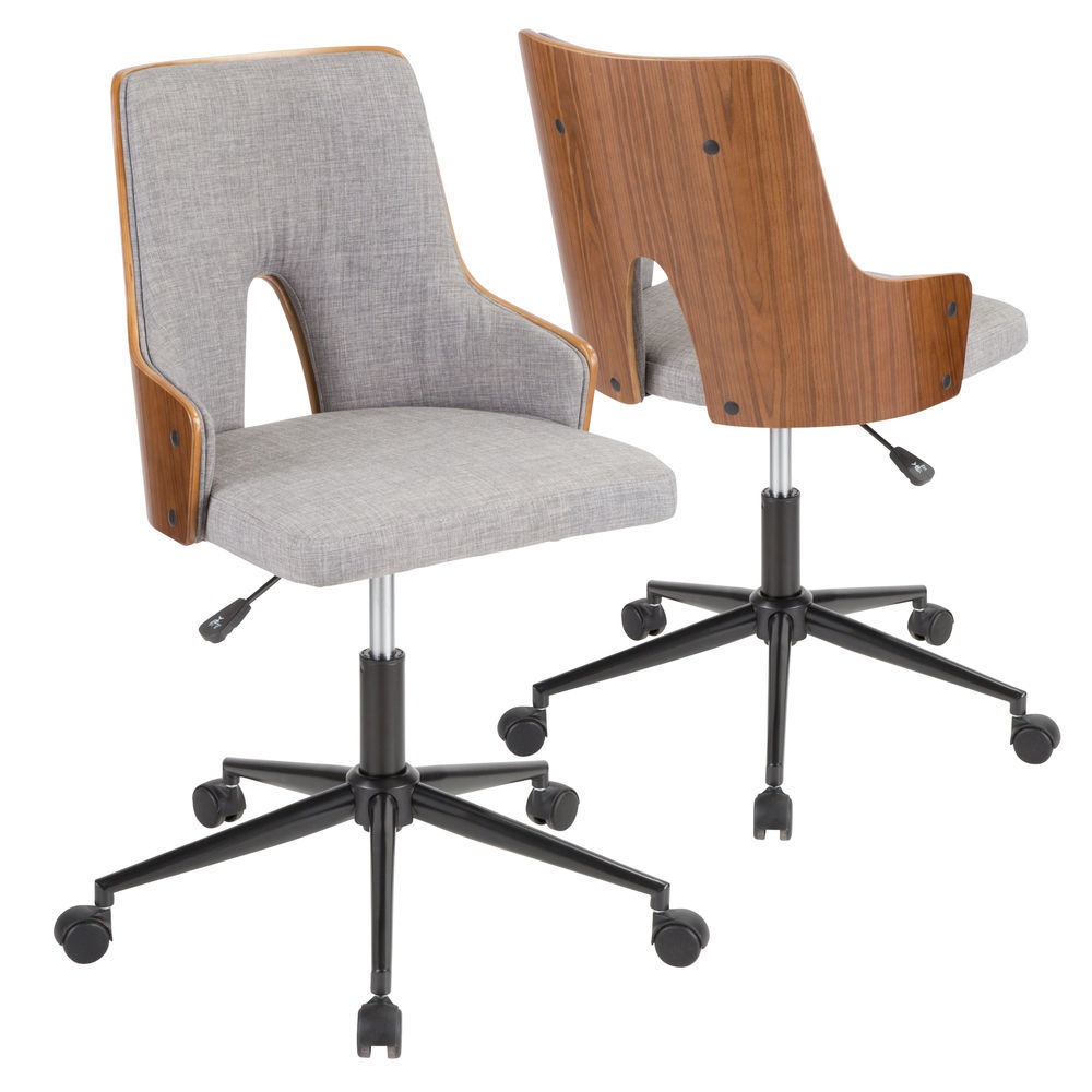 Lumisource Stella Mid Century Modern Office Chair In Walnut Wood And Grey Fabric By Lumisource