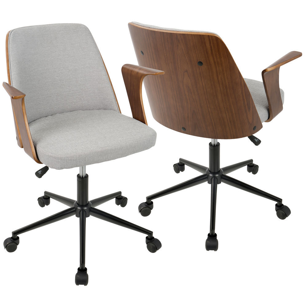 Lumisource Verdana Mid Century Modern Office Chair In Walnut Wood And Grey Fabric By Lumisource