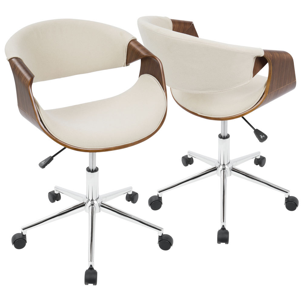 Lumisource Curvo Mid Century Modern Office Chair In Walnut And Cream By Lumisource
