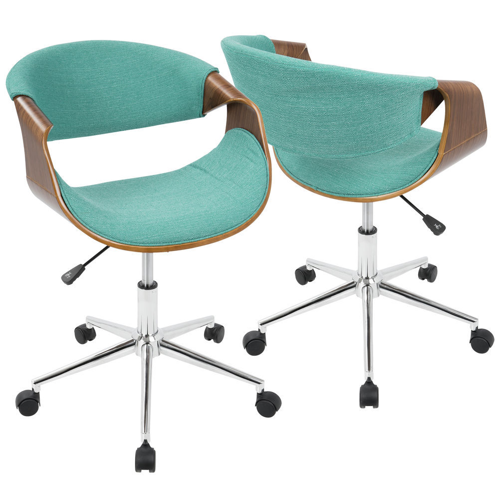 LumiSource Curvo Mid-Century Modern Office Chair in Walnut and Teal by  LumiSource