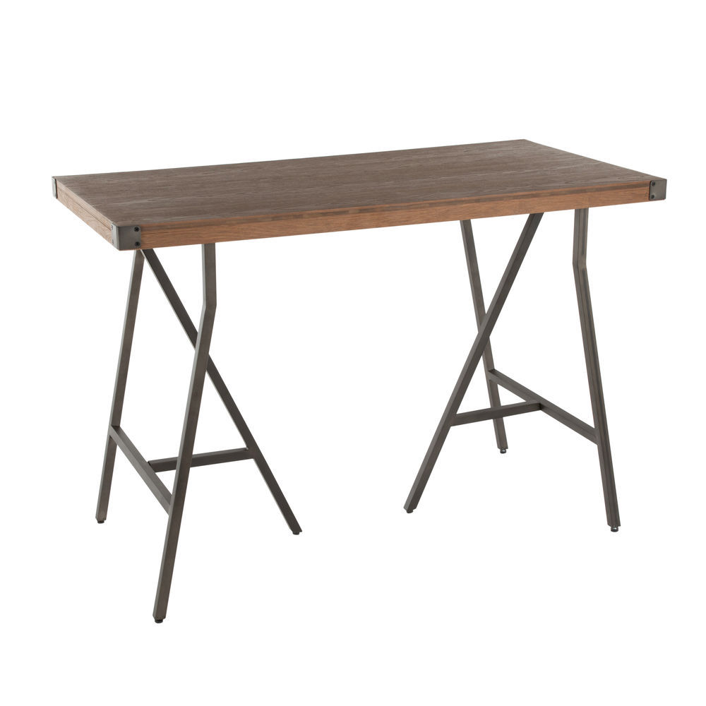Lumisource Trestle Industrial Counter Table In Antique Metal And Brown Wood Pressed Grain Bamboo By Lumisource