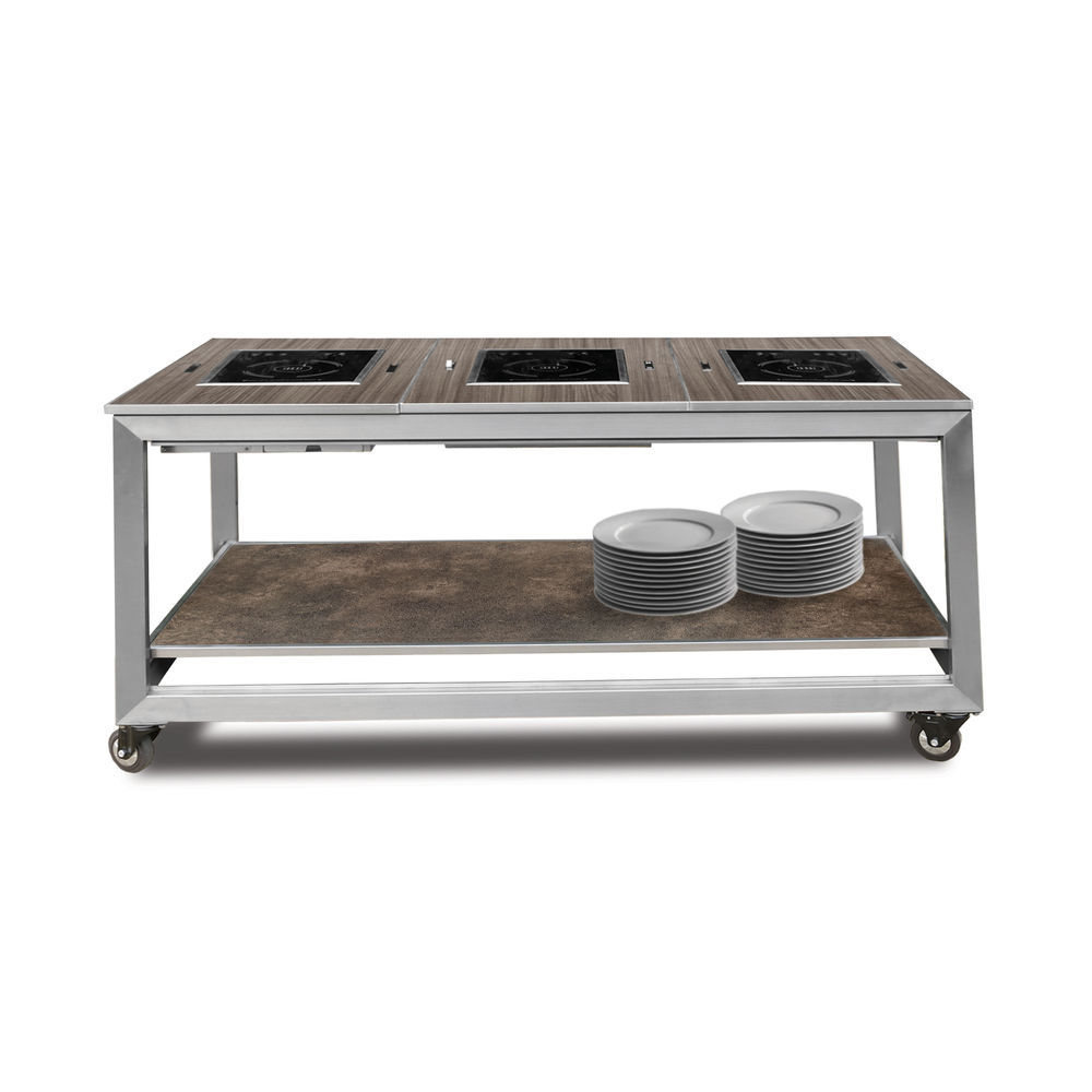 """Eastern Tabletop Hub Induction Banquet Table 7-7/7""""W x 77-7/7""""D x 77-7/7""""H  (working height)"""