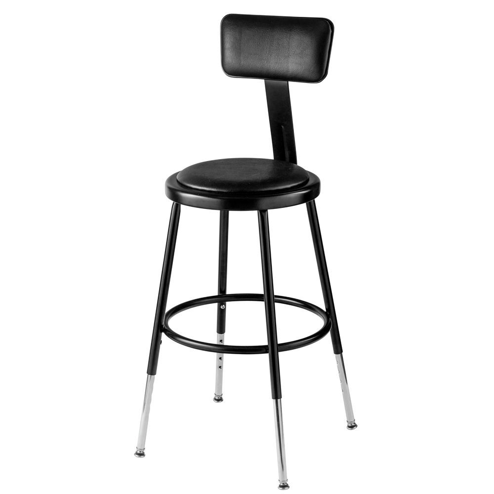 Pleasant National Public Seating 19 27 Height Adjustable Heavy Duty Vinyl Padded Steel Stool With Backrest Black Creativecarmelina Interior Chair Design Creativecarmelinacom