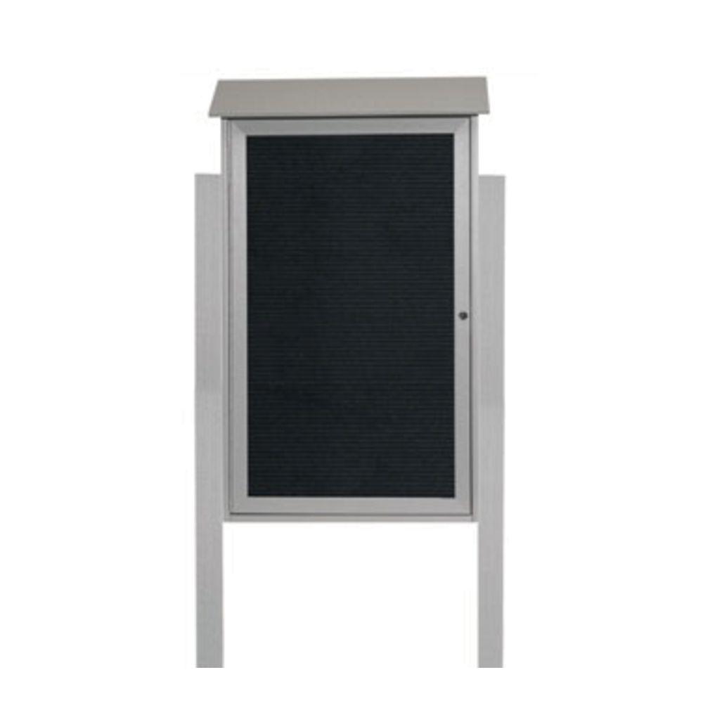 Aarco Light Grey Freestanding Letter Board 1 Door Message Center - 26