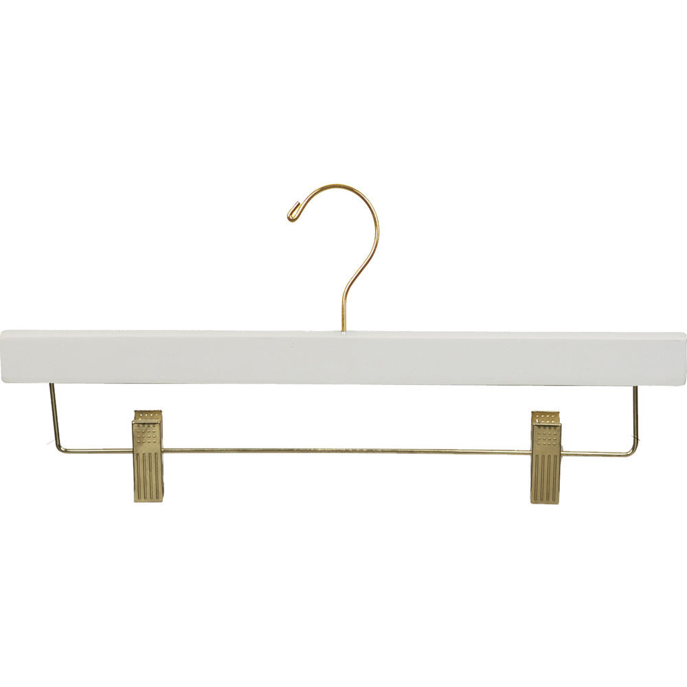 International Hanger White Wood Bottom Hanger W Clips 14 X 58 Box Of 100