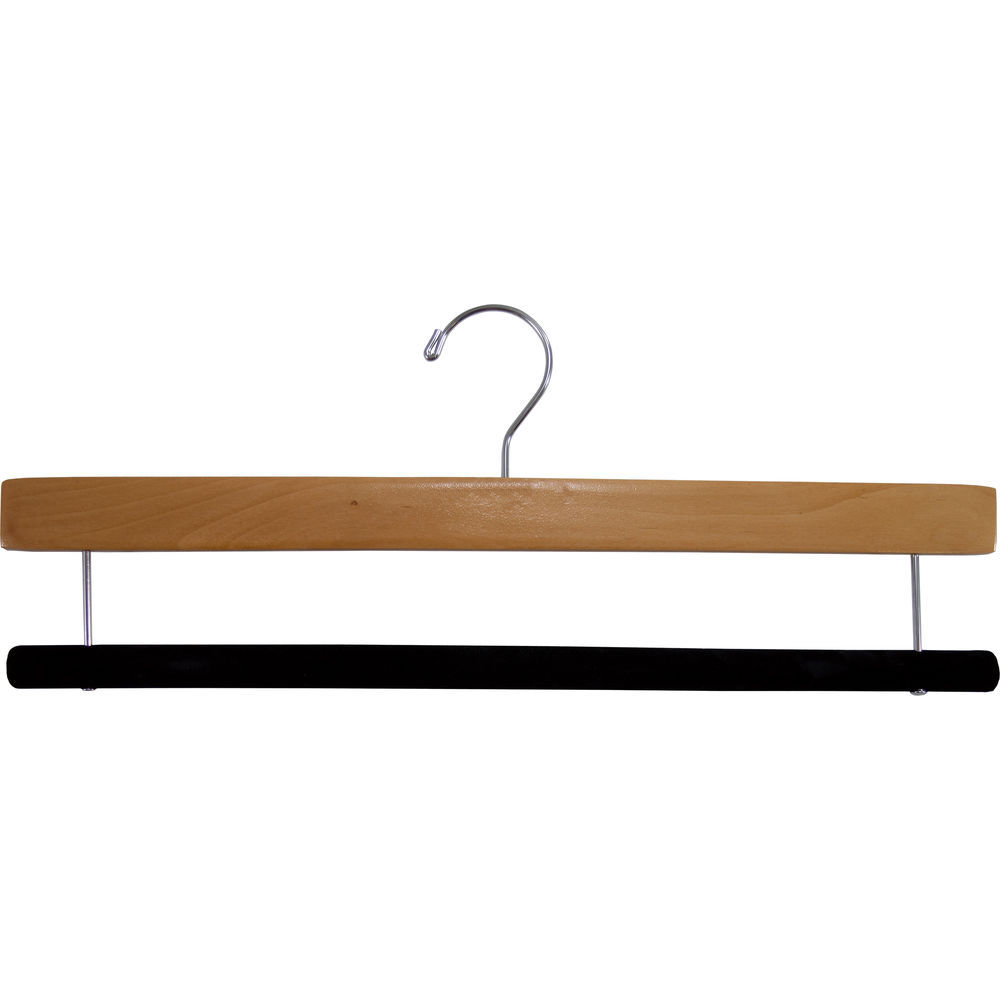 International Hanger Natural Wood Bottom Hanger W Flocked Bar 16 X 38 Box Of 50
