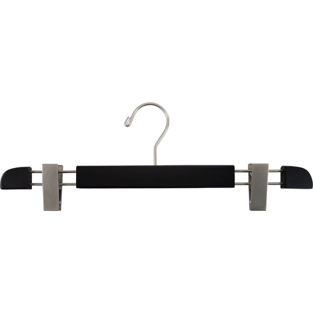 International Hanger Matte Black Wood Bottom Hanger W Clips 16 X 58 Box Of 100