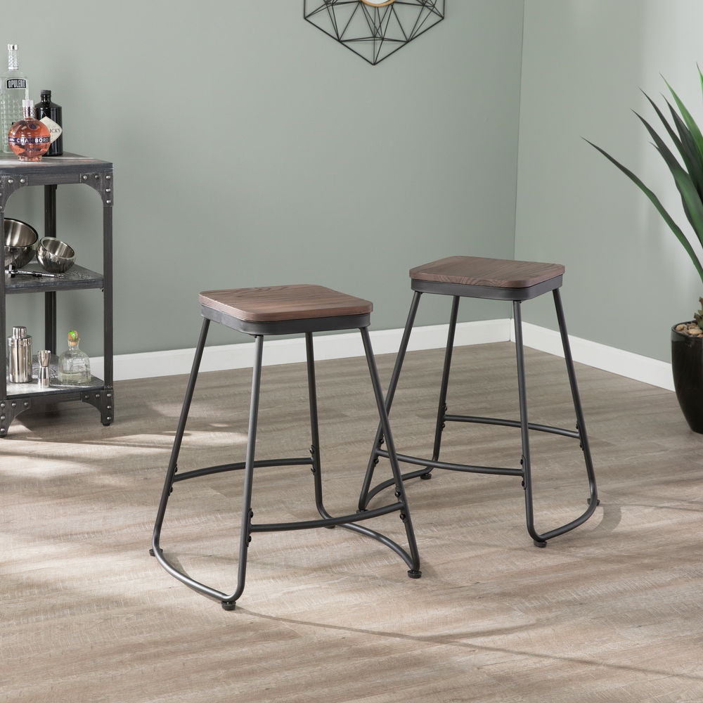 Miraculous Southern Enterprises Roldon Backless Counter Stools 2Pc Set Black Ocoug Best Dining Table And Chair Ideas Images Ocougorg