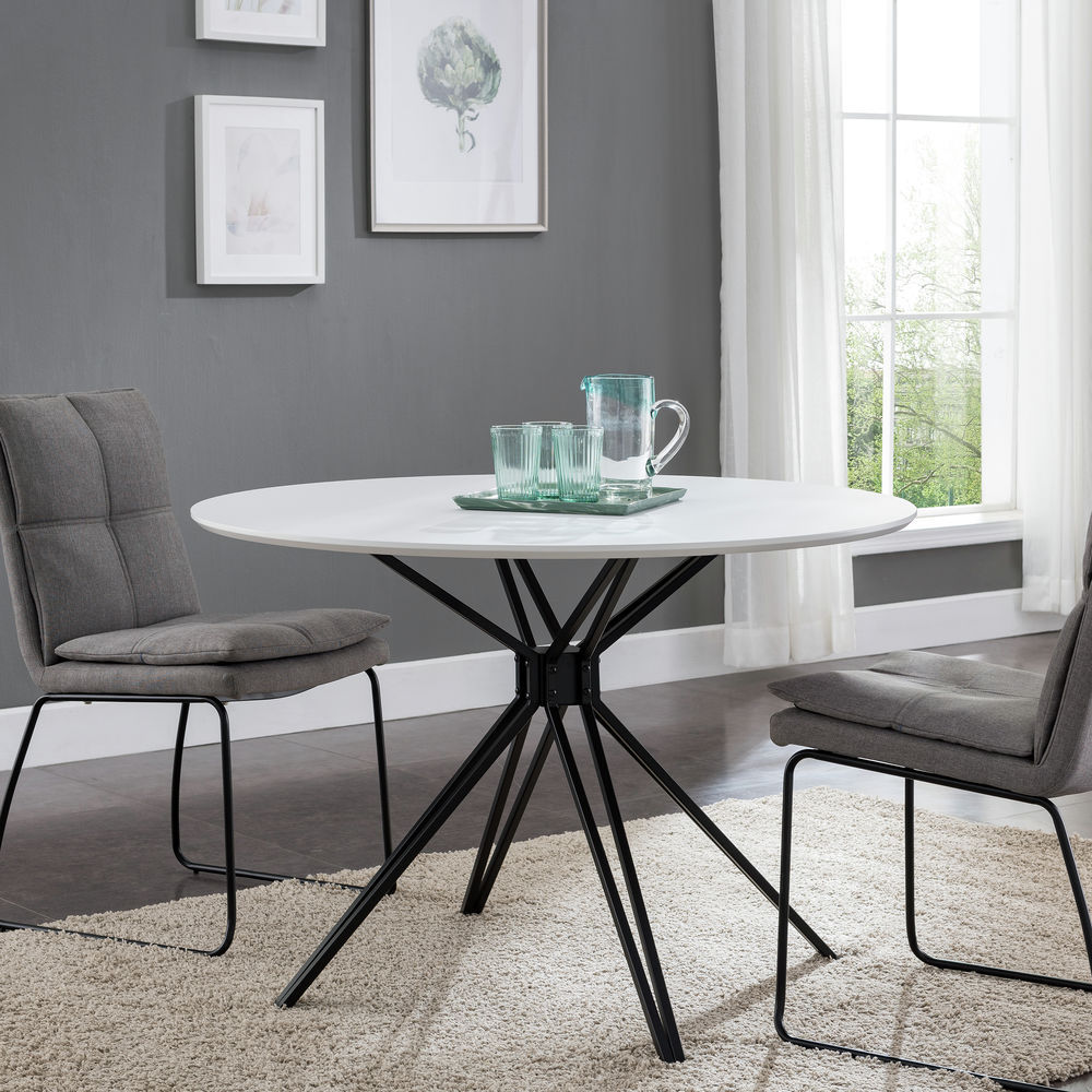 Southern Enterprises Atticus Round Dining Table Black and White