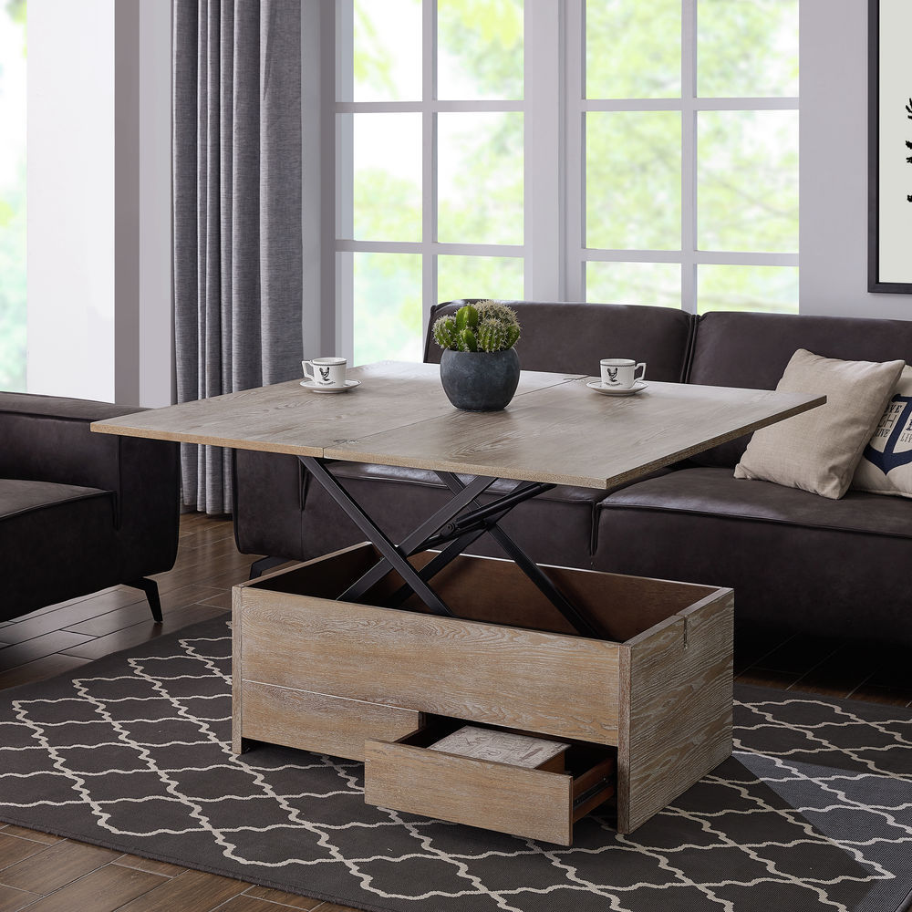 Southern Enterprises Ardsley Convertible Storage Coffee Table To Dining Table