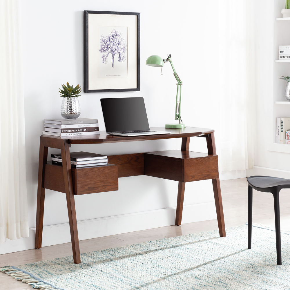 Southern Enterprises Clyden Midcentury Modern Writing Desk W Storage