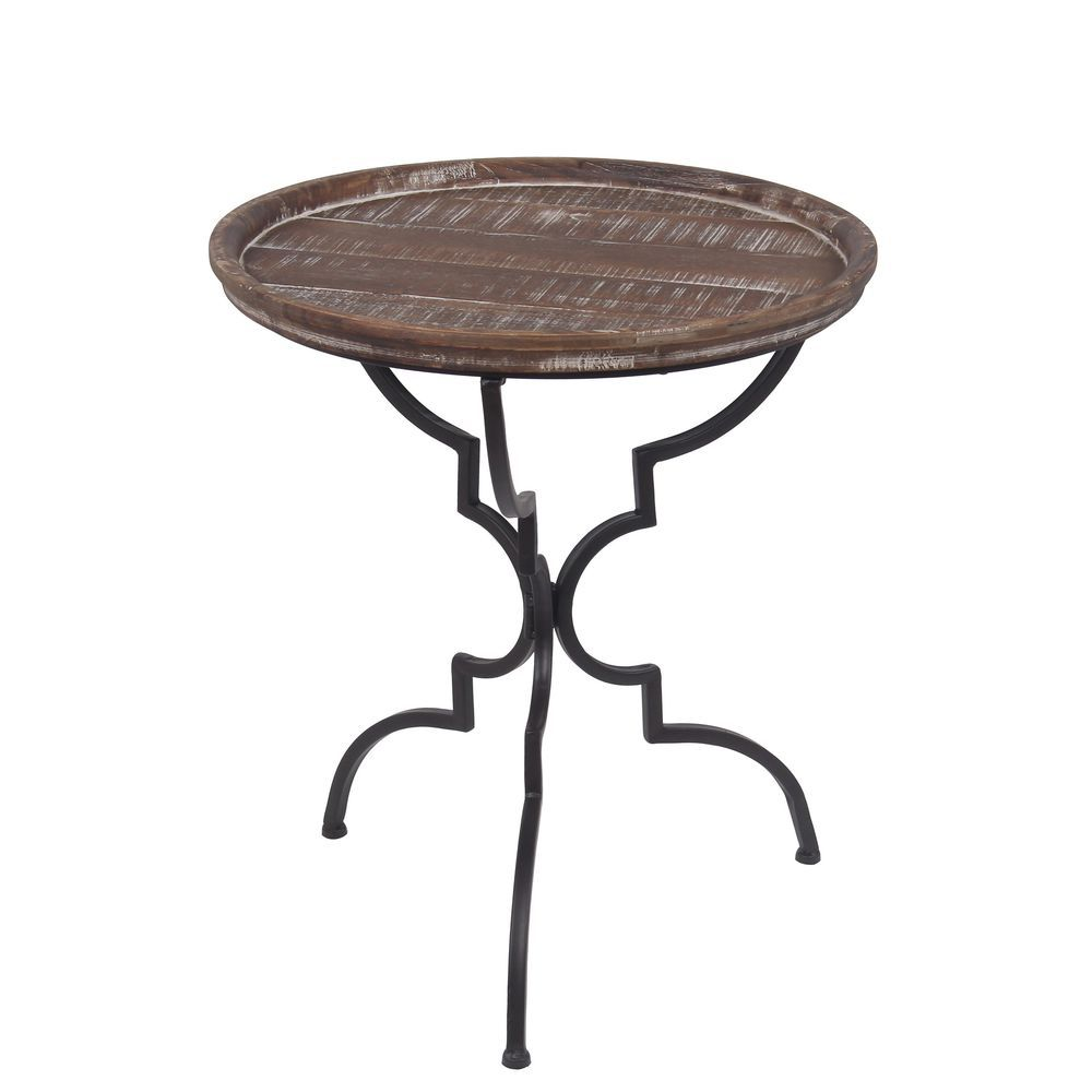- Privilege Small Round Tripod Metal Accent Stand With Wood Top