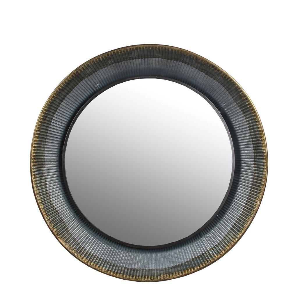 Privilege Silver Large Mirror Round 35h X 4w X 35d