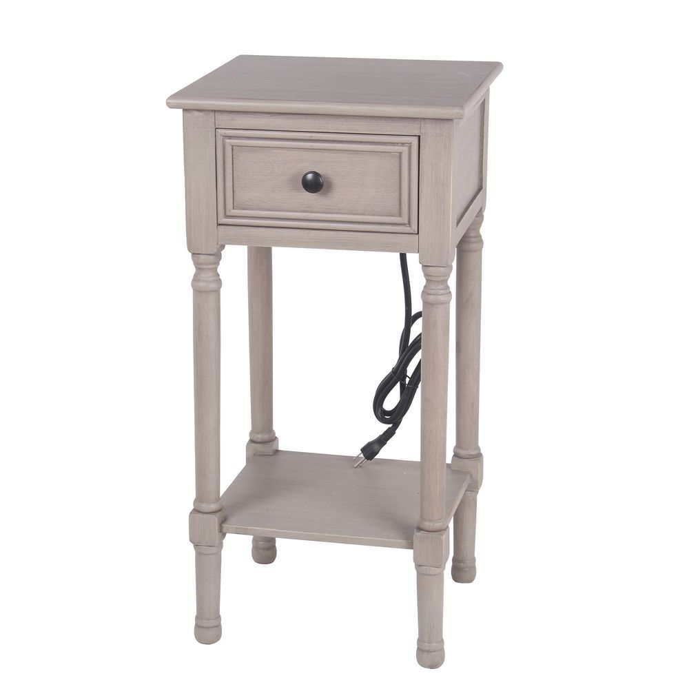 - Privilege Savannah 1 Drawer Accent End Table USB & AC Out