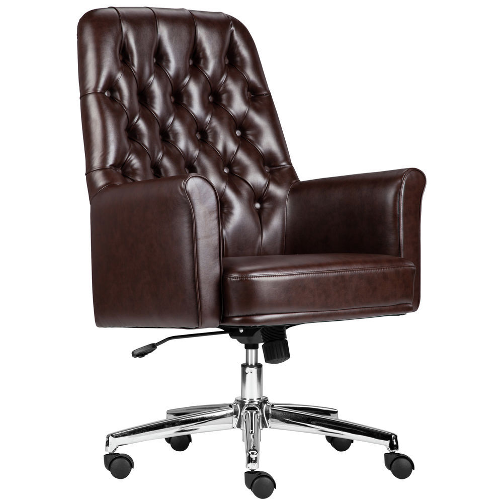 Flash Furniture High Back Traditional Tufted Black Leather