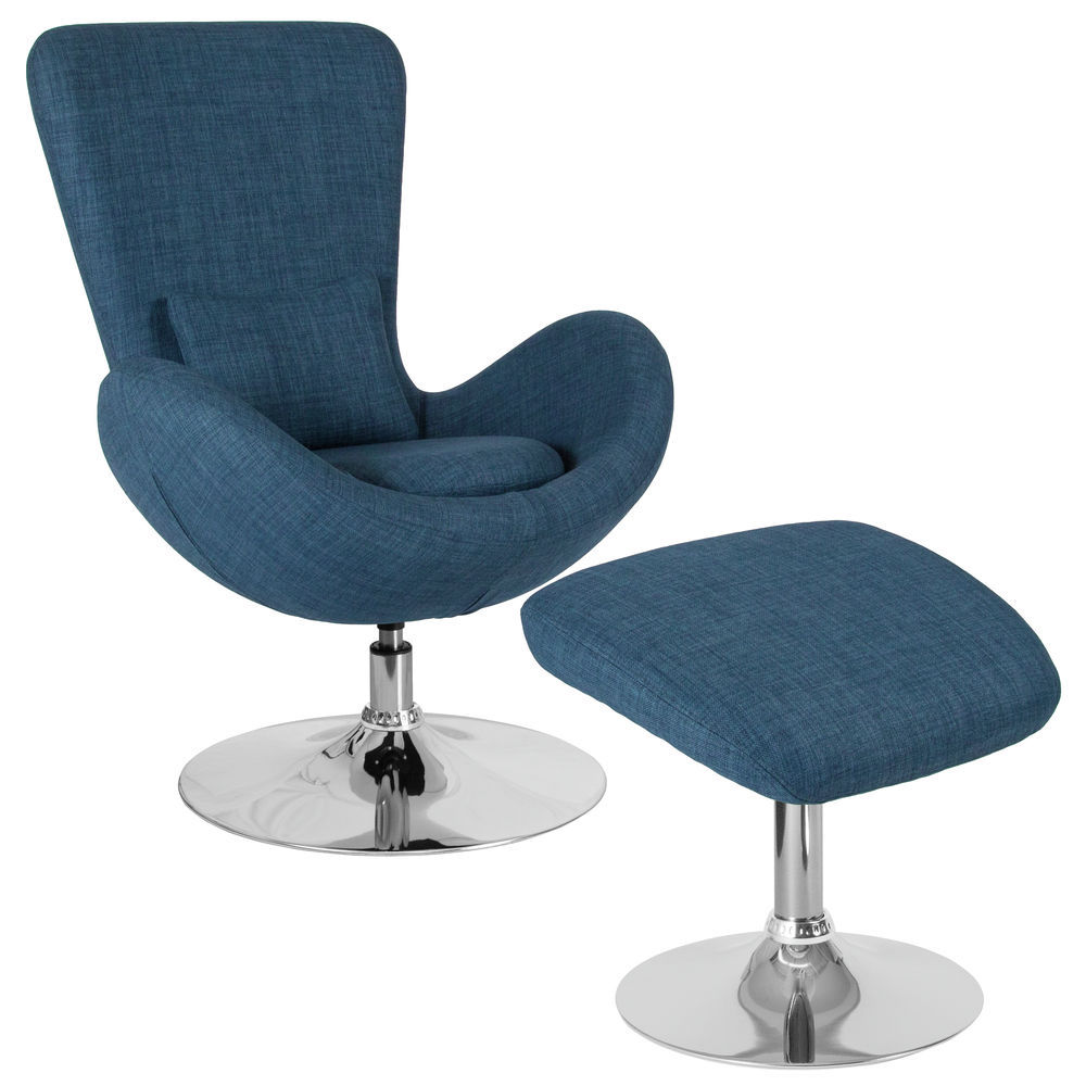 Flash Furniture Egg Series Blue Fabric Side Reception Chair with Ottoman