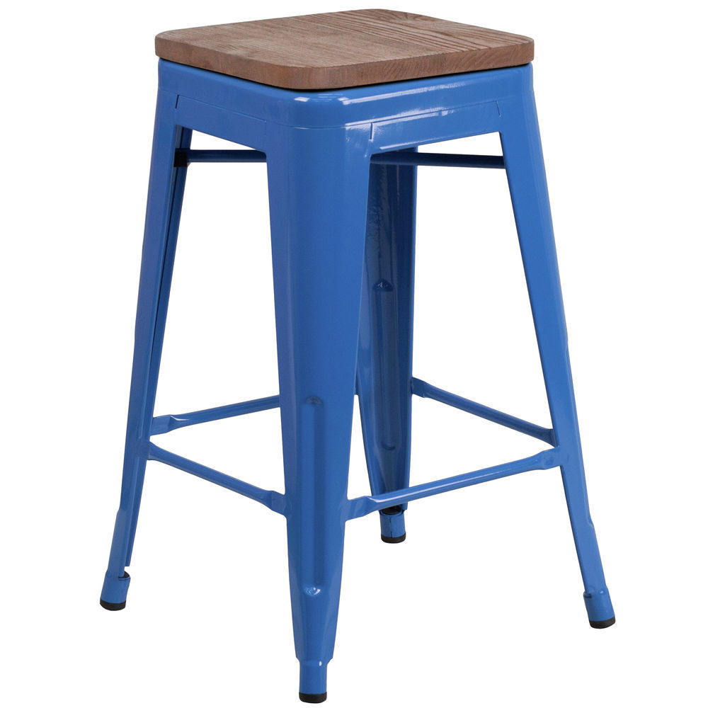 Flash Furniture 24 High Backless Blue Metal Counter Height Stool