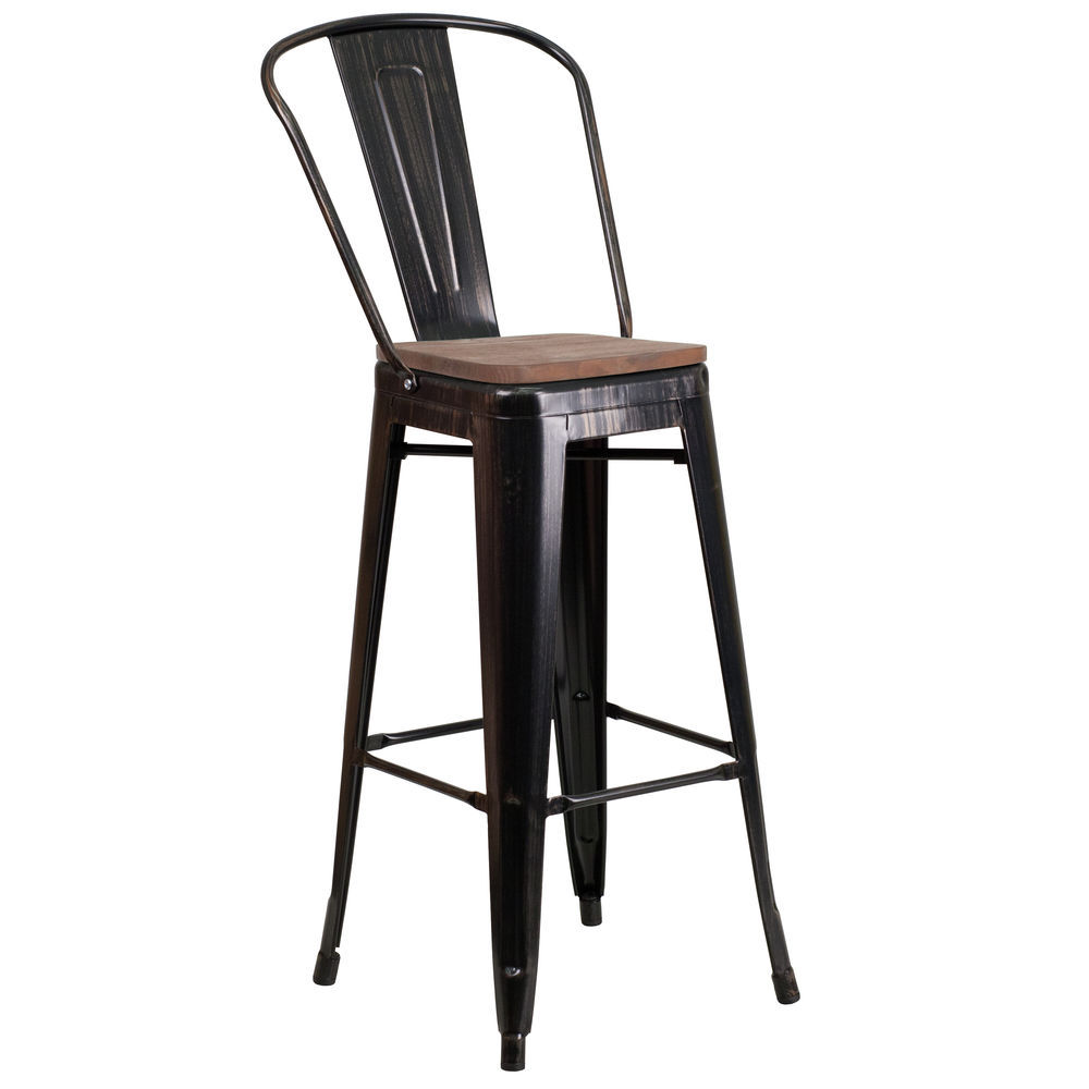 Flash Furniture 30 High Black Antique Gold Metal Barstool With Back