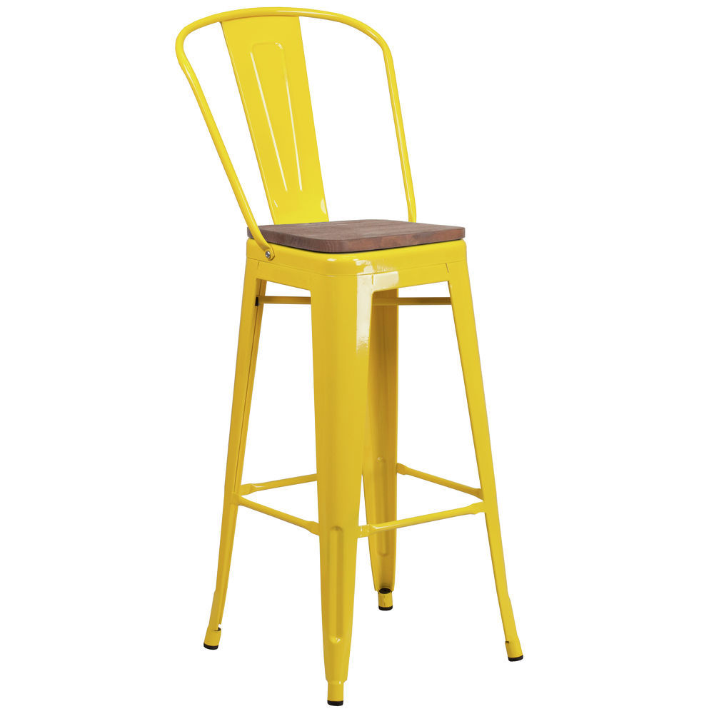Flash Furniture 30 High Yellow Metal Barstool With Back And Wood