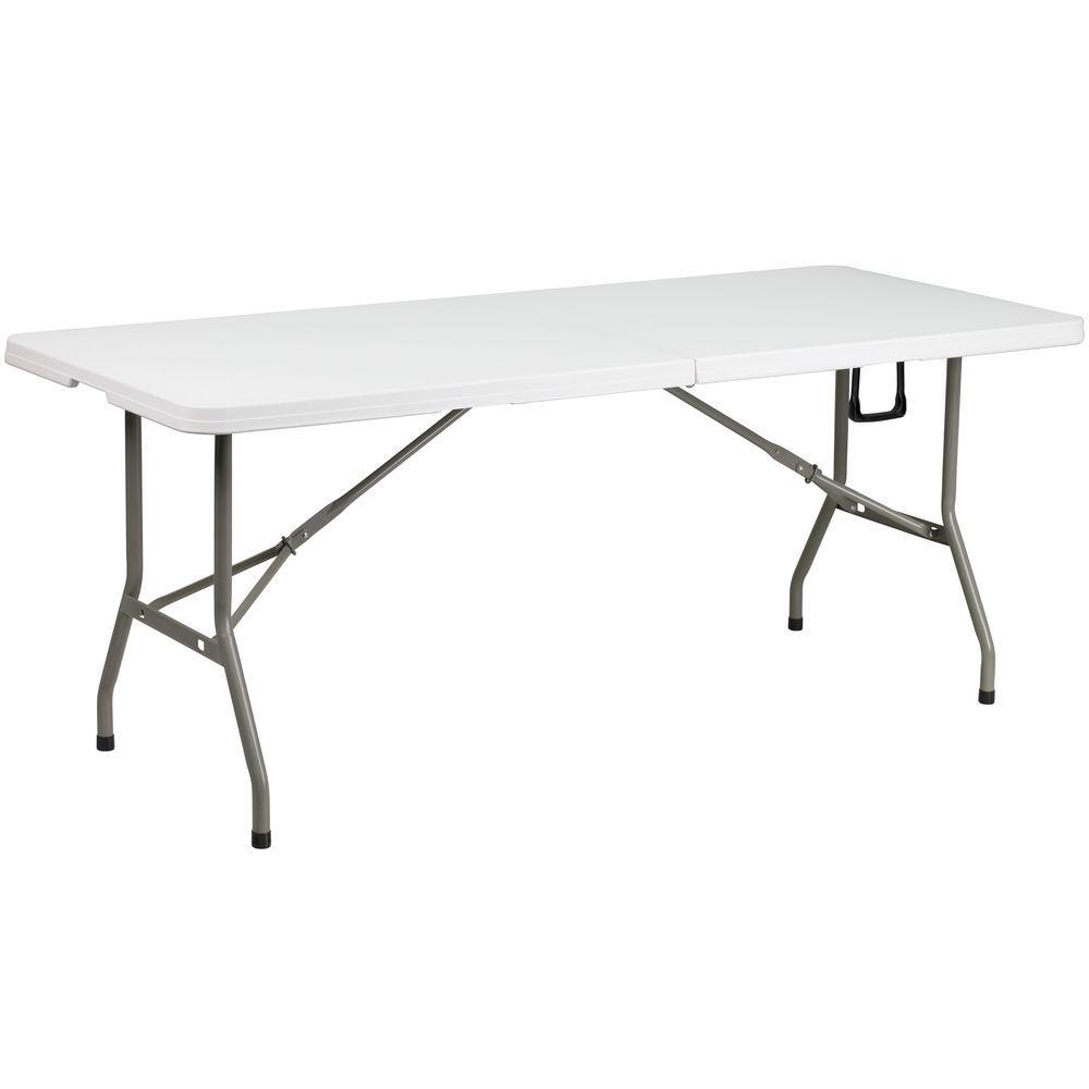 Flash Furniture 5-Foot Bi-Fold Granite White Plastic Folding Table