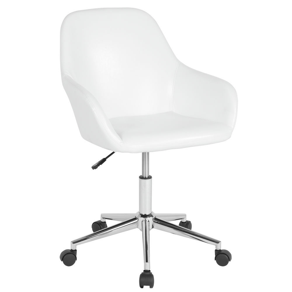 Awesome Flash Furniture Cortana Home And Office Mid Back Chair In White Leather Spiritservingveterans Wood Chair Design Ideas Spiritservingveteransorg