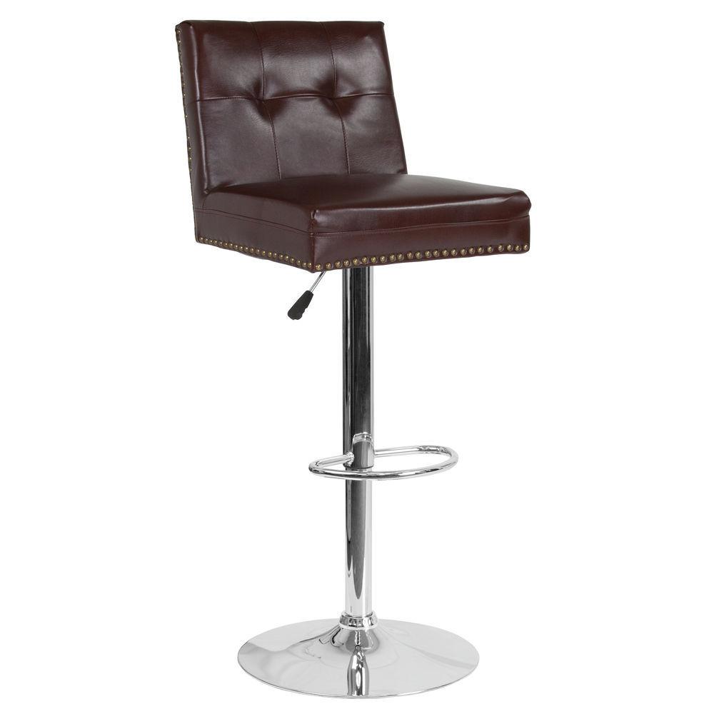 Awe Inspiring Flash Furniture Brown Leather Barstool Cjindustries Chair Design For Home Cjindustriesco