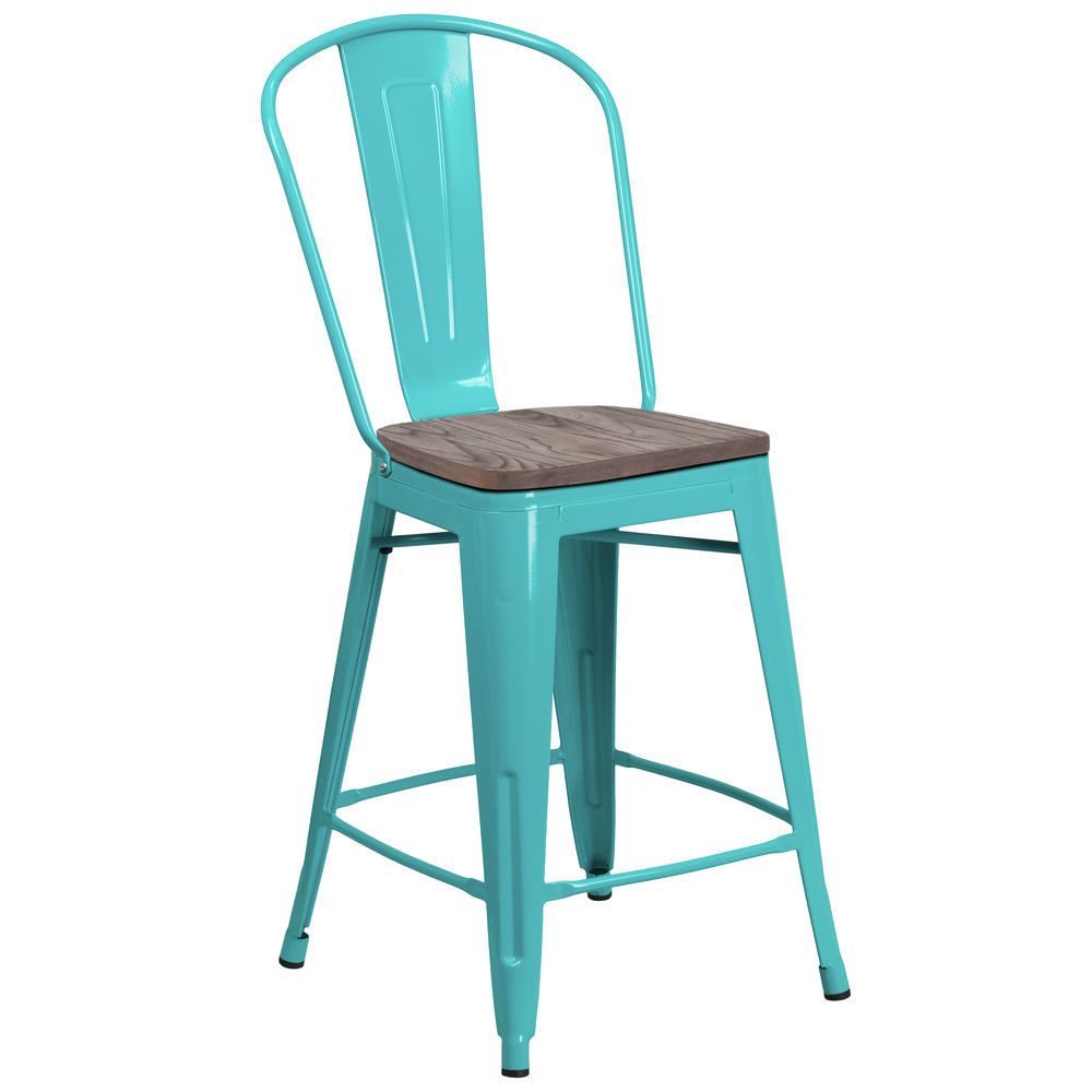Flash Furniture 24 High Crystal Teal Blue Metal Counter Height Stool
