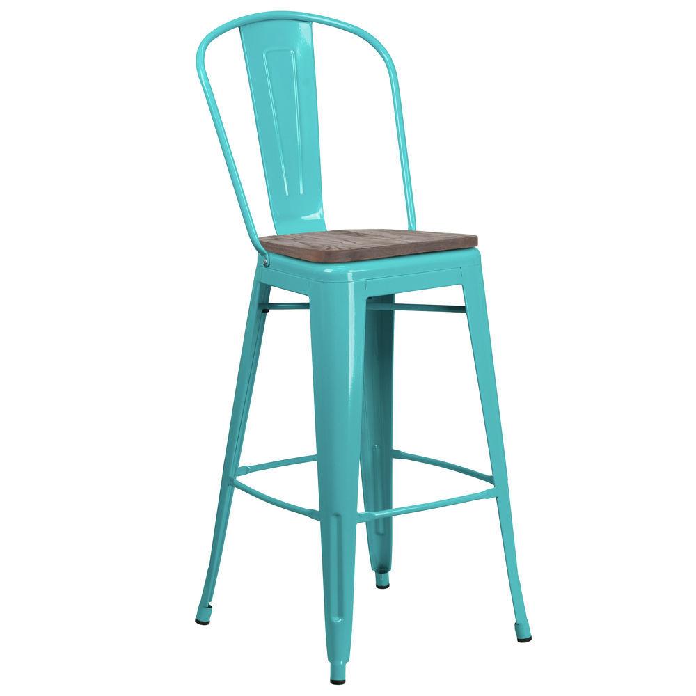 Flash Furniture 30 High Crystal Teal Blue Metal Barstool With Back