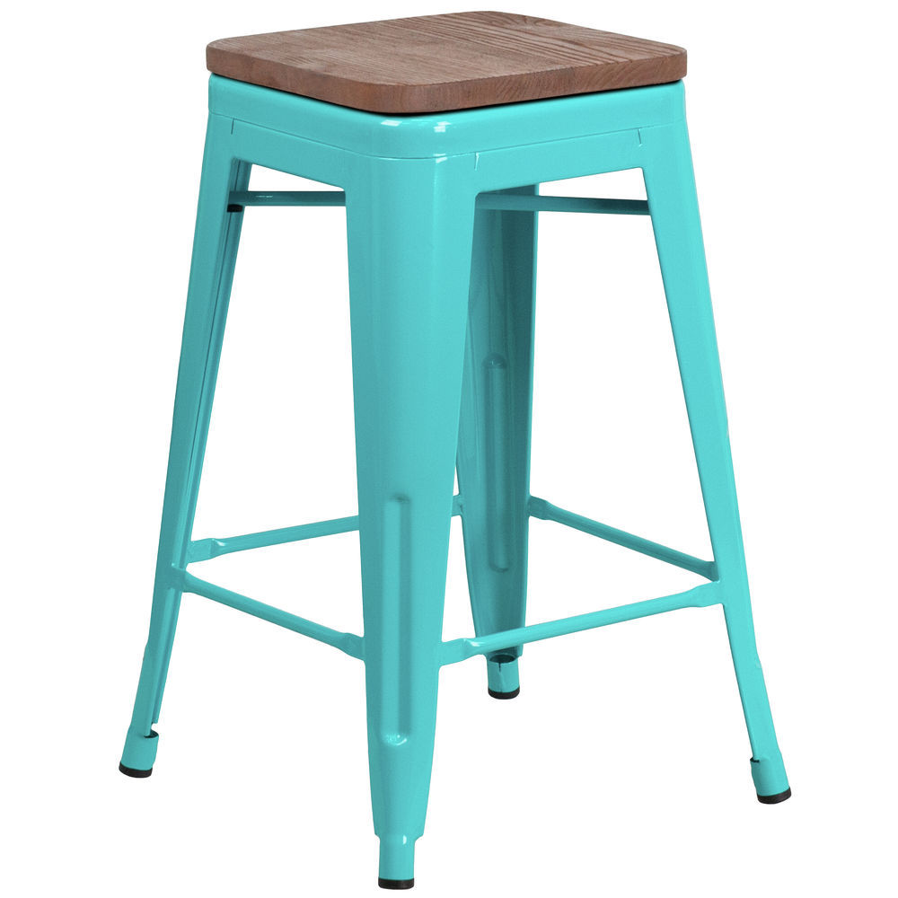 Phenomenal Flash Furniture 24 High Backless Crystal Teal Blue Counter Height Stool With Square Wood Seat Pdpeps Interior Chair Design Pdpepsorg