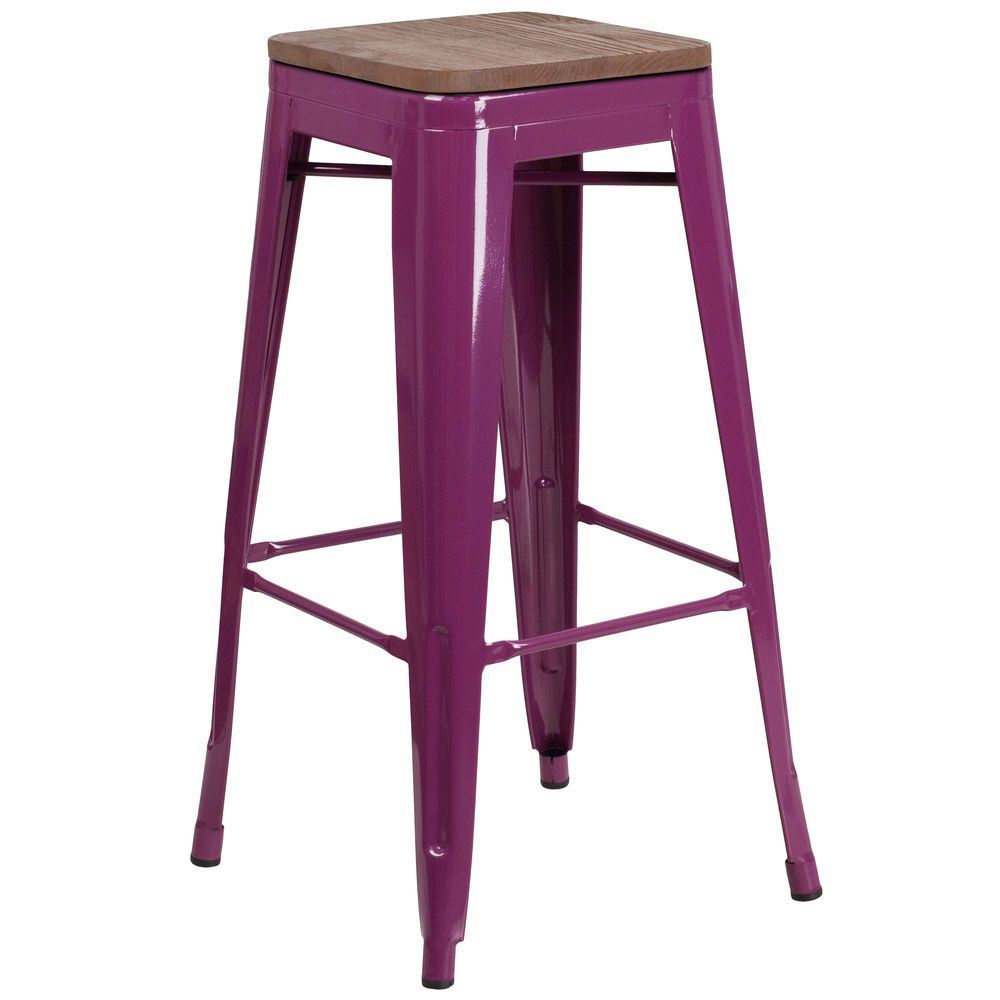 Flash furniture 30 high backless purple barstool with square wood seat