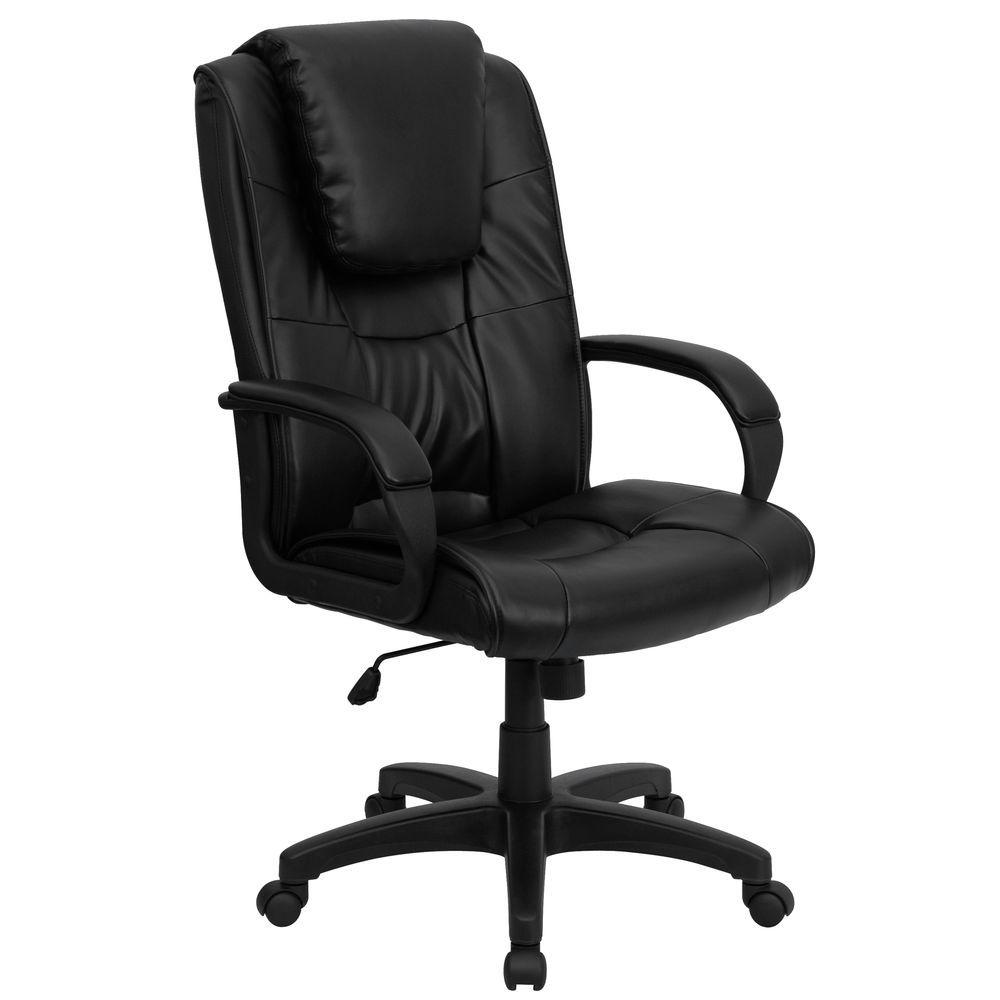 Superb Flash Furniture High Back Black Leather Executive Swivel Chair With Oversized Headrest And Arms Creativecarmelina Interior Chair Design Creativecarmelinacom