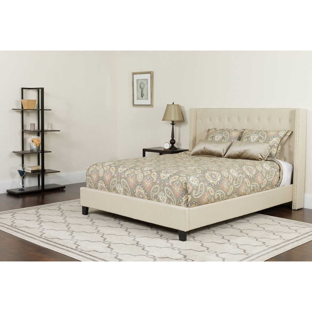 Flash Furniture Riverdale Queen Size Tufted Upholstered Platform Bed In Beige Fabric
