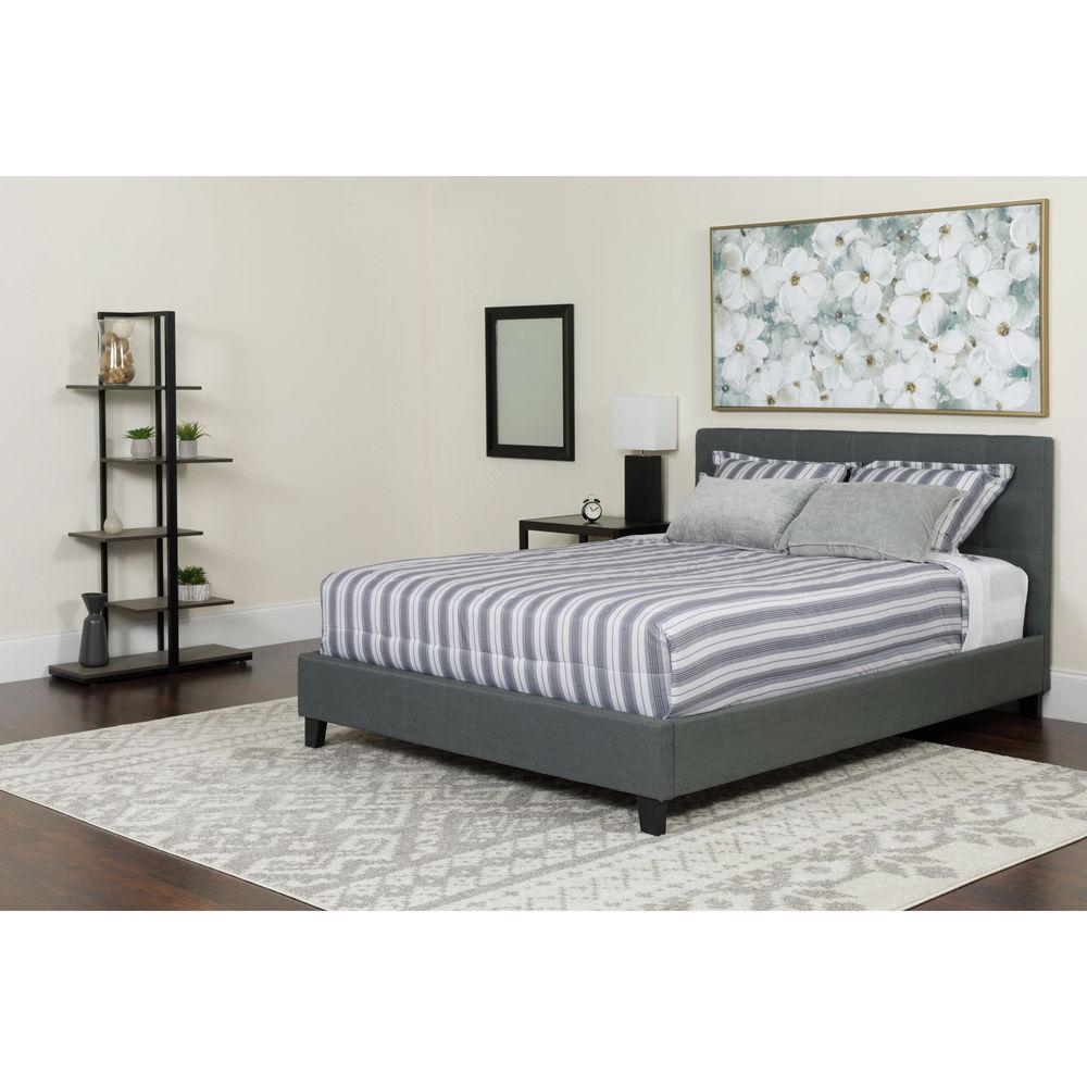 Flash furniture king platform bed set gray