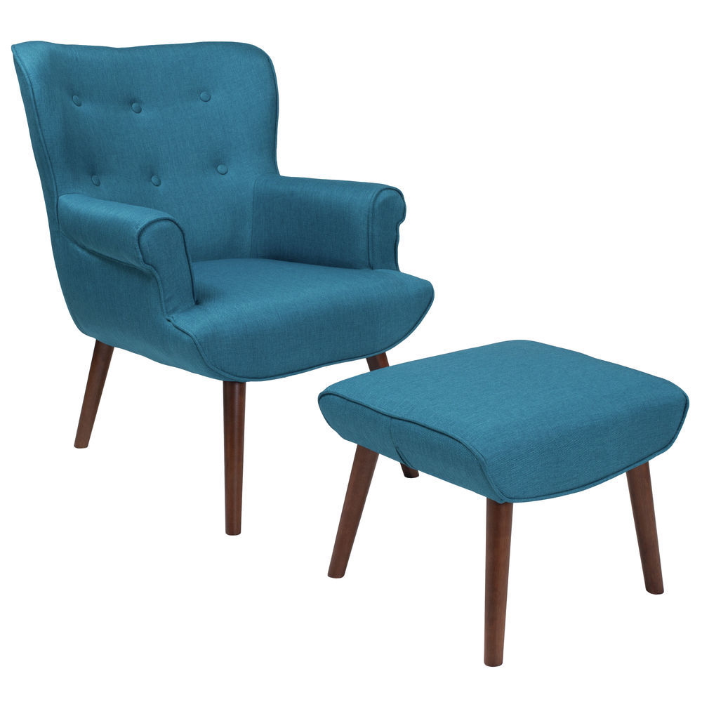Enjoyable Flash Furniture Bayton Upholstered Wingback Chair With Ottoman In Blue Fabric Short Links Chair Design For Home Short Linksinfo