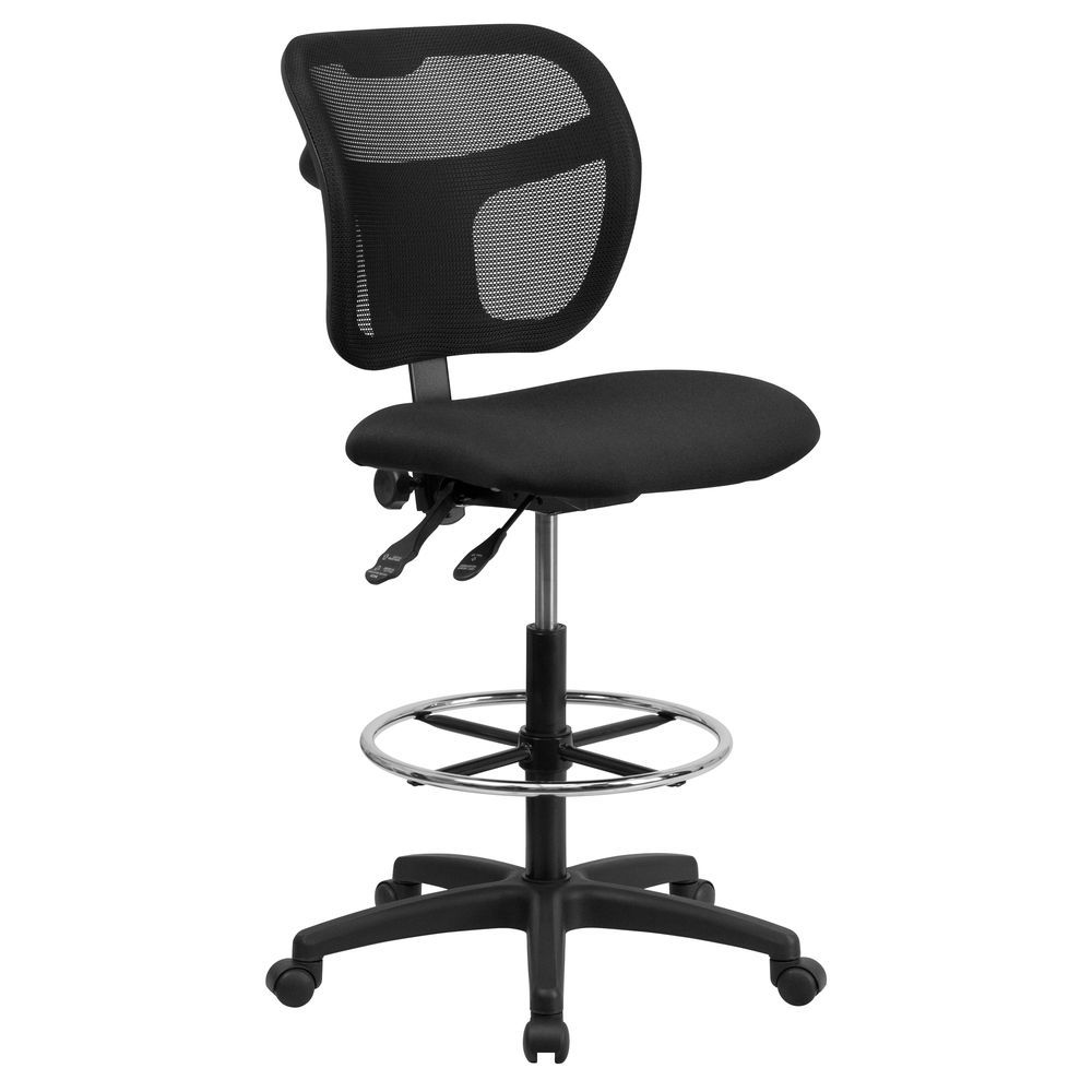 Flash Furniture Mid-Back Black Mesh Drafting Chair with Back Height  Adjustment
