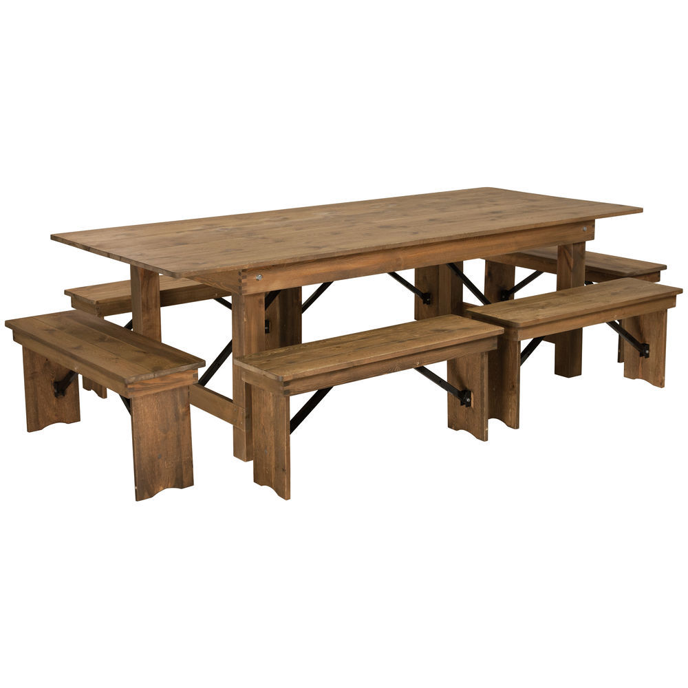 Flash Furniture Hercules Series 8 X 40 Antique Rustic Folding
