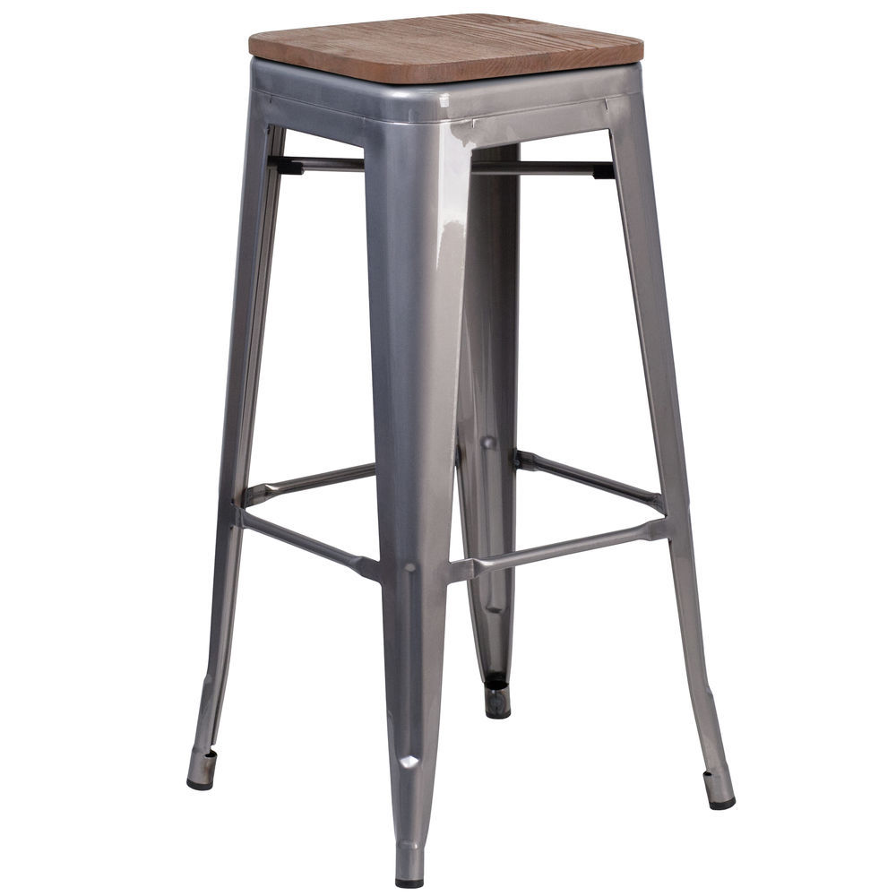 Pleasant Flash Furniture 30 High Backless Clear Coated Metal Barstool With Square Wood Seat Machost Co Dining Chair Design Ideas Machostcouk