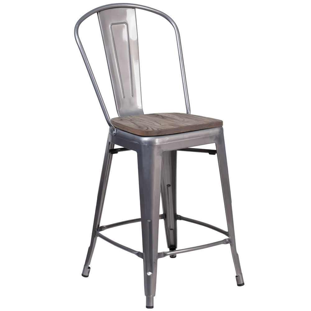 Flash Furniture 24 High Clear Coated Counter Height Stool With Back