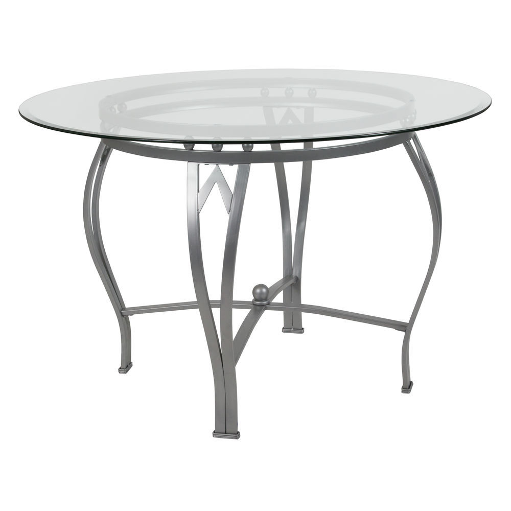 Flash Furniture Syracuse 45 Round Glass Dining Table With Silver