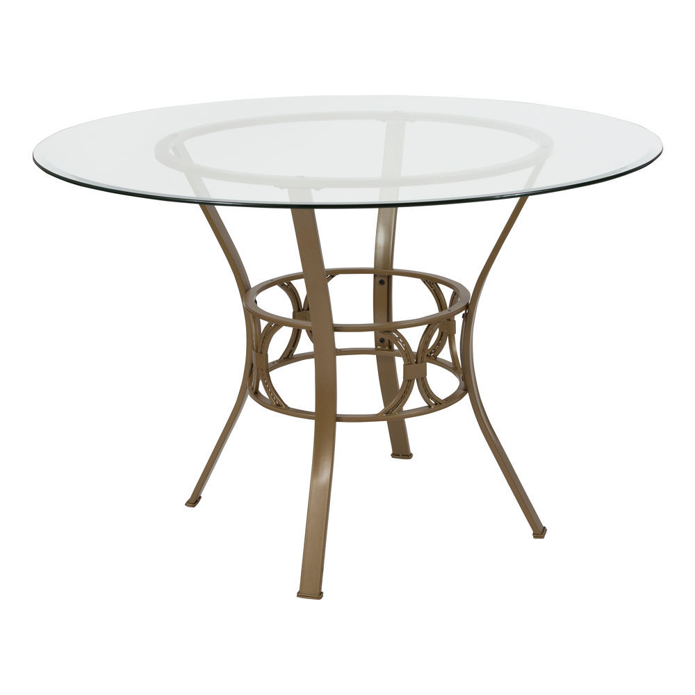 Flash Furniture Carlisle 45 Round Glass Dining Table With Matte Gold