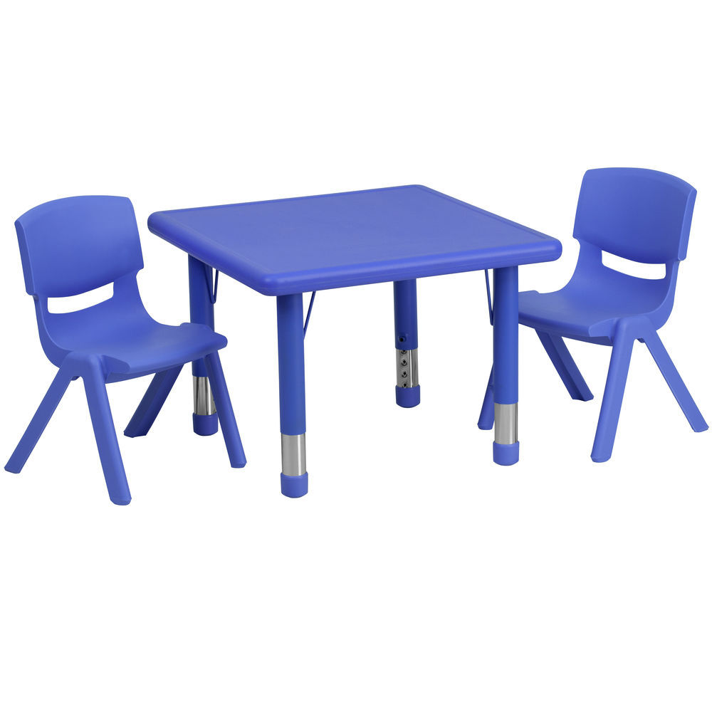 Flash Furniture 45 Round Blue Plastic Height Adjustable Activity Table Set with 4 Chairs