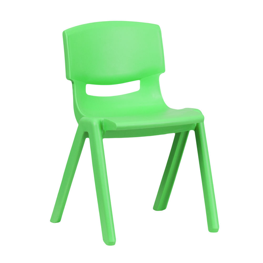Flash Furniture Green Plastic Stackable School Chair with 13.25\'\' Seat  Height