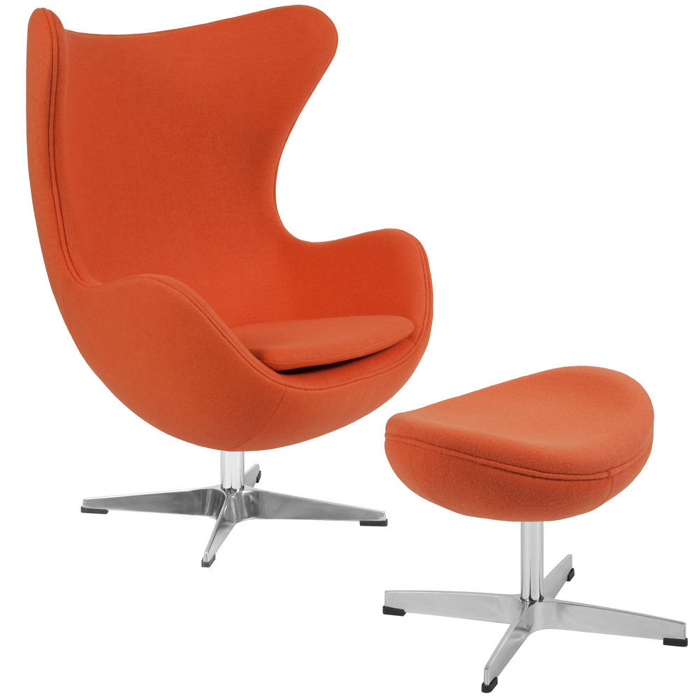 The Egg Chair.Flash Furniture Orange Wool Fabric Egg Chair With Tilt Lock Mechanism And Ottoman