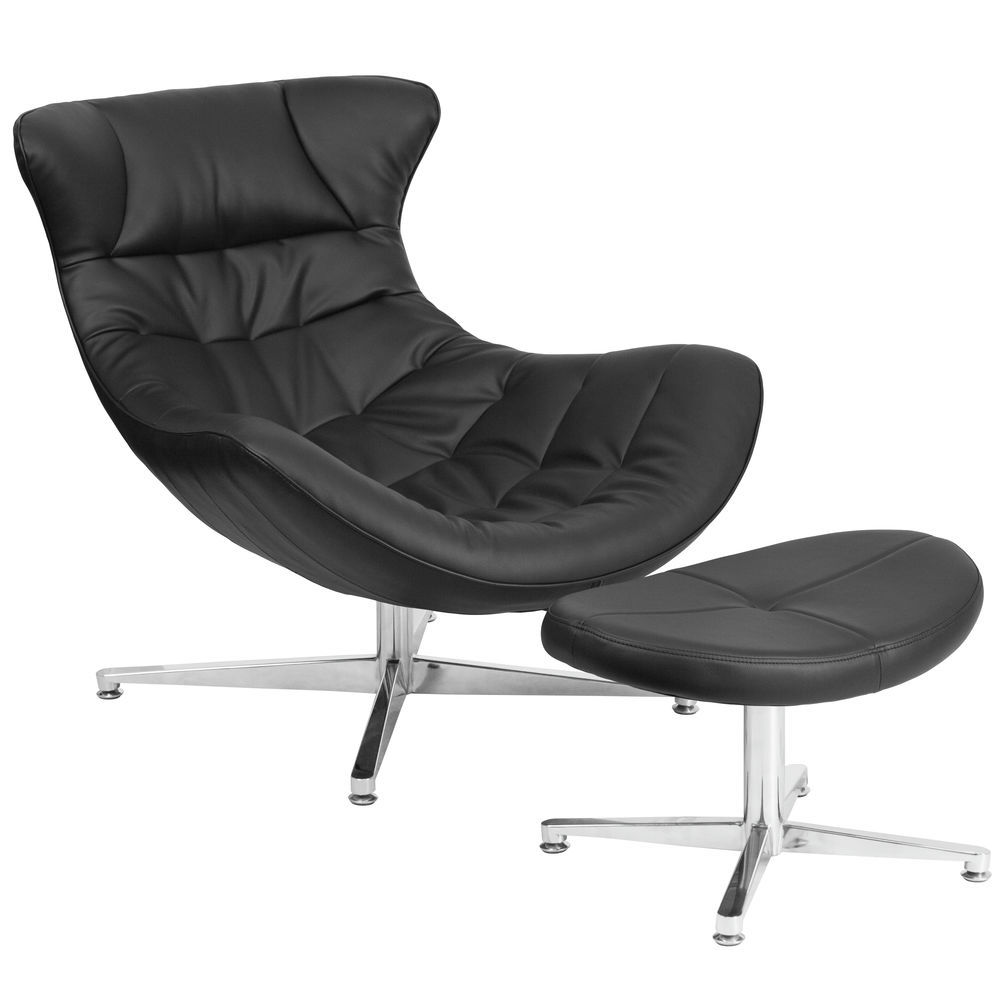 Flash Furniture Black Leather Cocoon Chair With Ottoman